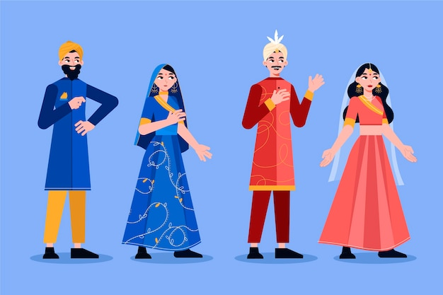 Colección de personajes de bodas indias