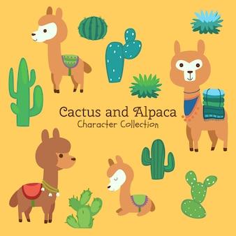 Colección de personajes de cactus y alpaca