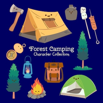 Colección de personajes de camping en el bosque