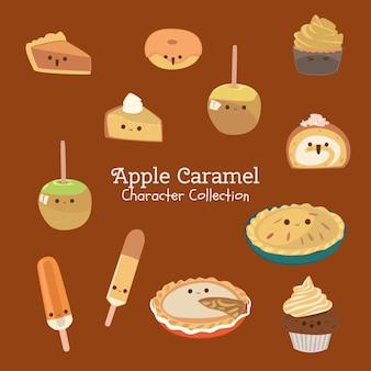Colección de personajes de caramelo de manzana