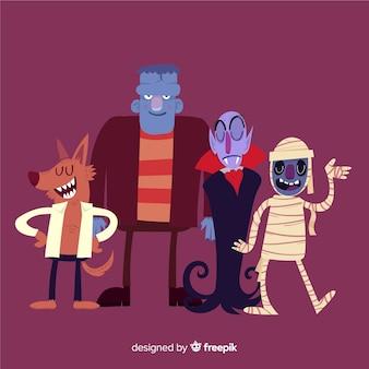 Colección de personajes clásicos de halloween con diseño plano