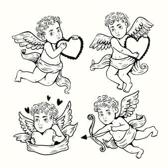 Colección de personajes de cupido dibujados a mano
