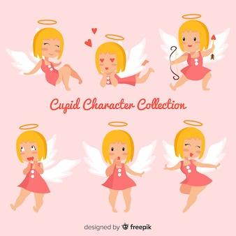 Colección de personajes de cupido en diseño plano