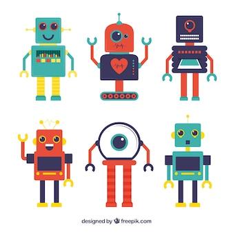 Colección personajes de robot de diseño plano