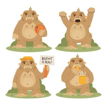 Colección de personajes de dibujos animados bigfoot sasquatch