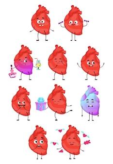 Colección de personajes de dibujos animados de corazón. órgano humano con diferentes emociones.