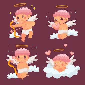 Colección de personajes de dibujos animados de cupido