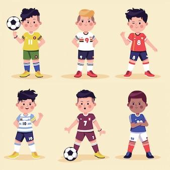 Colección de personajes de dibujos animados de fútbol
