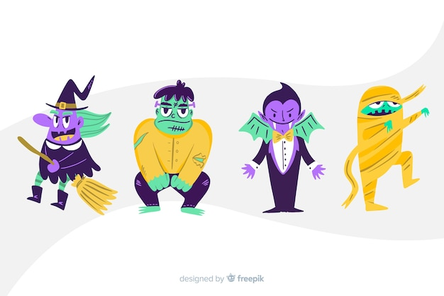 Colección de personajes de dibujos animados de halloween