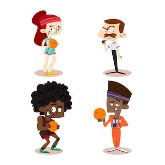 Colección de personajes de dibujos animados retro dibujados a mano con jugadores de baloncesto