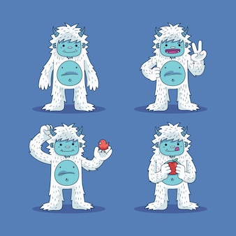 Colección de personajes de dibujos animados yeti abominable muñeco de nieve