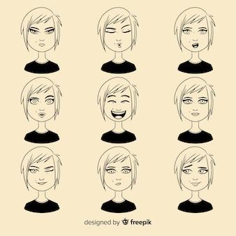 Colección de personajes con diferentes expresiones faciales