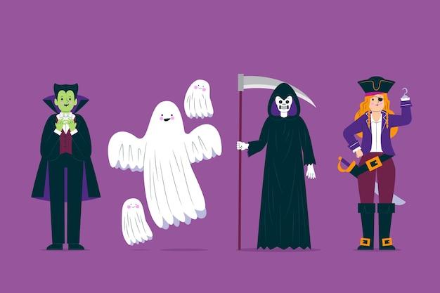 Colección de personajes de disfraces de halloween de miedo