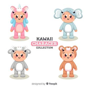 Colección personajes disfrazados kawaii dibujados a mano