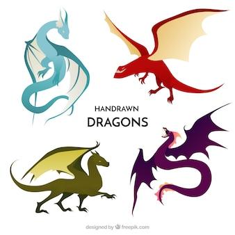 Colección de personajes de dragones dibujados a mano