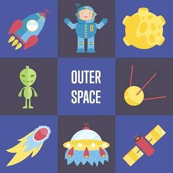 Colección de personajes y elementos de dibujos animados de espacio