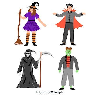 Colección de personajes espeluznantes de halloween
