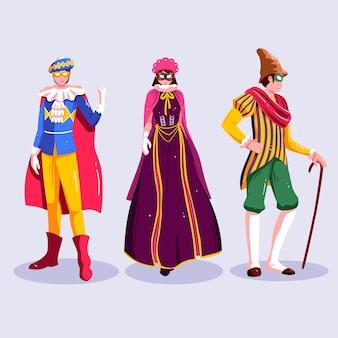 Colección de personajes felices con disfraces de carnaval.