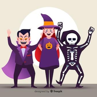 Colección de personajes felices de halloween plana