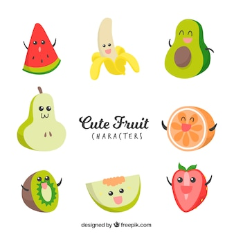 Colección de personajes de fruta expresivos dibujados a mano