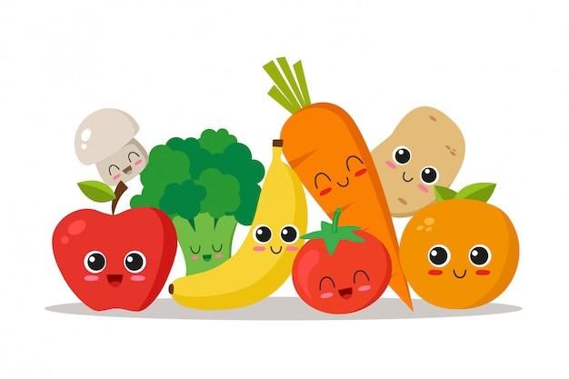 Colección de personajes de frutas y verduras.