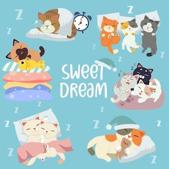La colección de personajes del gato durmiendo.