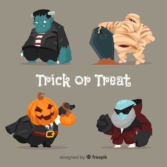 Colección de personajes gordos de halloween