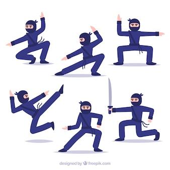 Colección de personajes de guerrero ninja con diseño plano