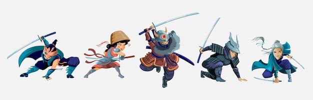 Colección con personajes de guerreros ninja, samurái, niña japonesa y anciana.