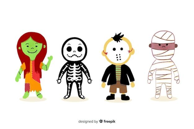 Colección de personajes de halloween de acuarela