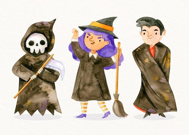 Colección de personajes de halloween en acuarela
