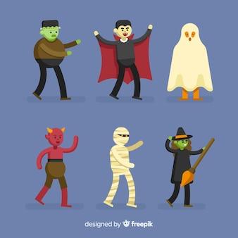 Colección de personajes de halloween cool para adultos jóvenes