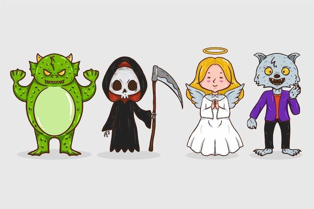 Colección de personajes de halloween dibujada