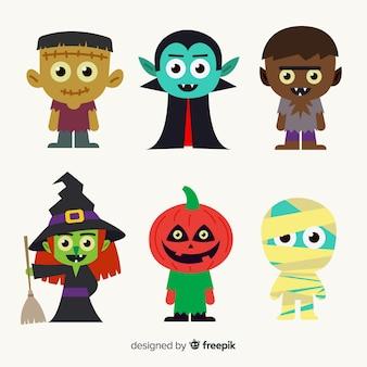 Colección de personajes de halloween dibujados a mano para niños