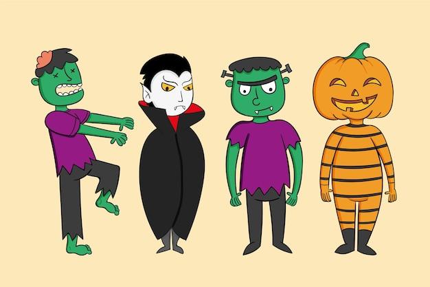 Colección de personajes de halloween dibujados a mano