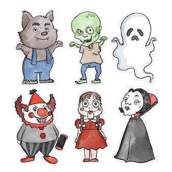 Colección de personajes de halloween de diseño de acuarela