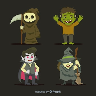 Colección de personajes de halloween en diseño plano