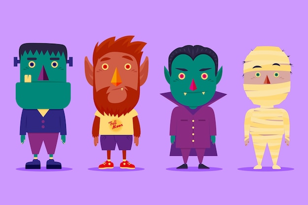 Colección de personajes de halloween de diseño plano