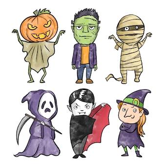 Colección de personajes de halloween estilo acuarela