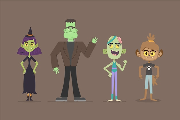 Colección de personajes de halloween de estilo dibujado a mano