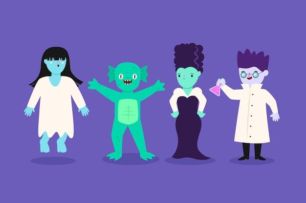 Colección de personajes de halloween feliz