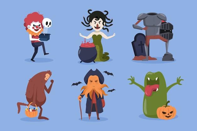 Colección de personajes de halloween. payaso, medusa, bigfoot y monstruos