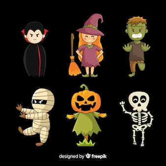 Colección de personajes de halloween plana sobre fondo negro