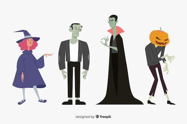Colección de personajes de halloween plana