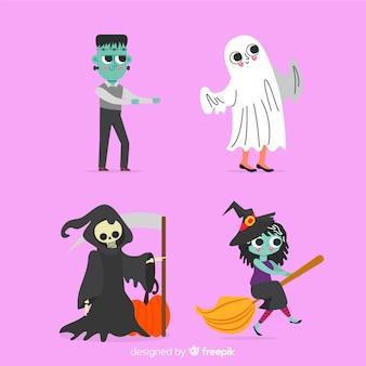 Colección de personajes de halloween plano
