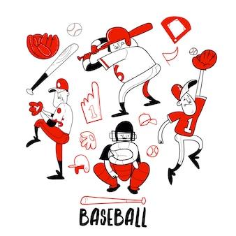 Colección de personajes de jugador de béisbol