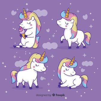 Colección de personajes kawaii adorables de unicornios