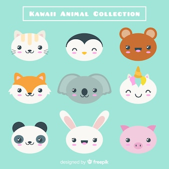 Colección personajes kawaii dibujada a mano