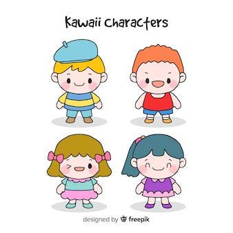 Colección personajes kawaii dibujados a mano