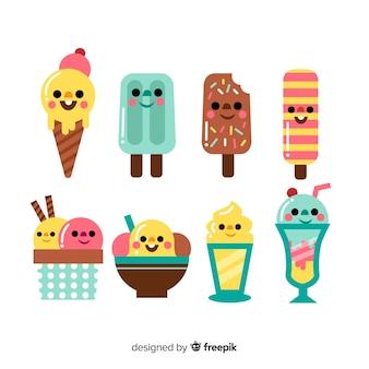 Colección de personajes kawaii de helado